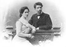 Антон Страшимиров със съпругата си Стефка