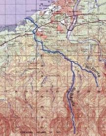 Географска карта на района на Ла Сеиба в Хондурас с реките Рио Булгариа и Рио Данто