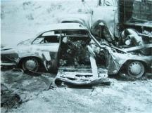 Автомобилът на Аспарухов и Котков - виждат се овъглените им тела