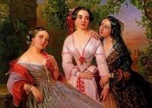 Групов портрет на сестрите графиня Елизавета Салиас,  художничката София Сухово-Кобылиной и Евдокия Петрова-Соколова.  Картината е на художника П. Н. Орлов, 1847 и е от фондовете на Третяковската галерия.