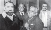 Отляво надясно: Серафим Северняк, Никола Инджов, кубинския поет Николас Гилен и Васил Попов