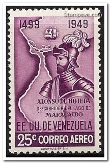 Венецуелска пощенска марка за Алонсо де Охеда