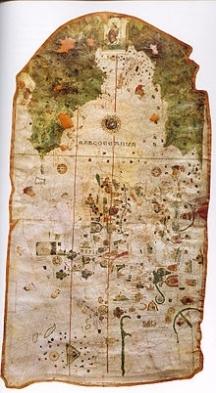 """Картата """"Мапа Мунди"""", според която нашенецът е откривателят на Венецуела и Бразилия. Години наред картата е фалшифицирана. Вдясно - създателят на оригинала на """"Мапа Мунди"""" Хуан де ла Коса"""