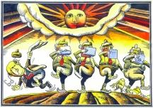 Карикатурата на Георги Чаушов. Вляво е спънатият Живков.