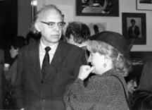 Савов със сръбската писателка Гроздана Олуич, Белград, 1990 г.