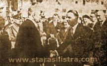 Като кмет на Силистра през 40-те години Иван Дочев (вдясно) посреща началника на дворцовата канцелария Поменов