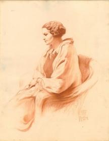 Графичен портрет на поетесата от словенски художник