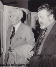 Иван Делчев и поетът Младен Исаев (вляво)