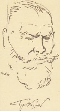 Рисунка на Трифон Кунев от художника Илия Петров, 1943 г.