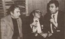 Отляво надясно: Станко Михайлов, Дамян Дамянов и министърът на културата Георги Йорданов