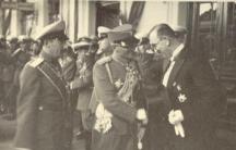 1934 г. , цар Борис III, сръбският крал Александър Караджорджевич и премиерът Кимон Георгиев