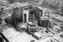 Снимка от самолет на строителните работи на НДК