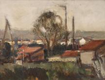 Селски пейзаж на Гргоров, който днес се продава в една от столичните галерии