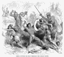 Конквистадорите в битка с туземното население