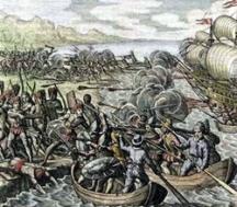 Моряците на мореплавателя в битка с туземното население